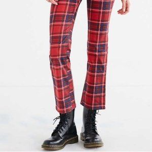 UO BDG Kick Flare High Rise Cropped Plaid Pants